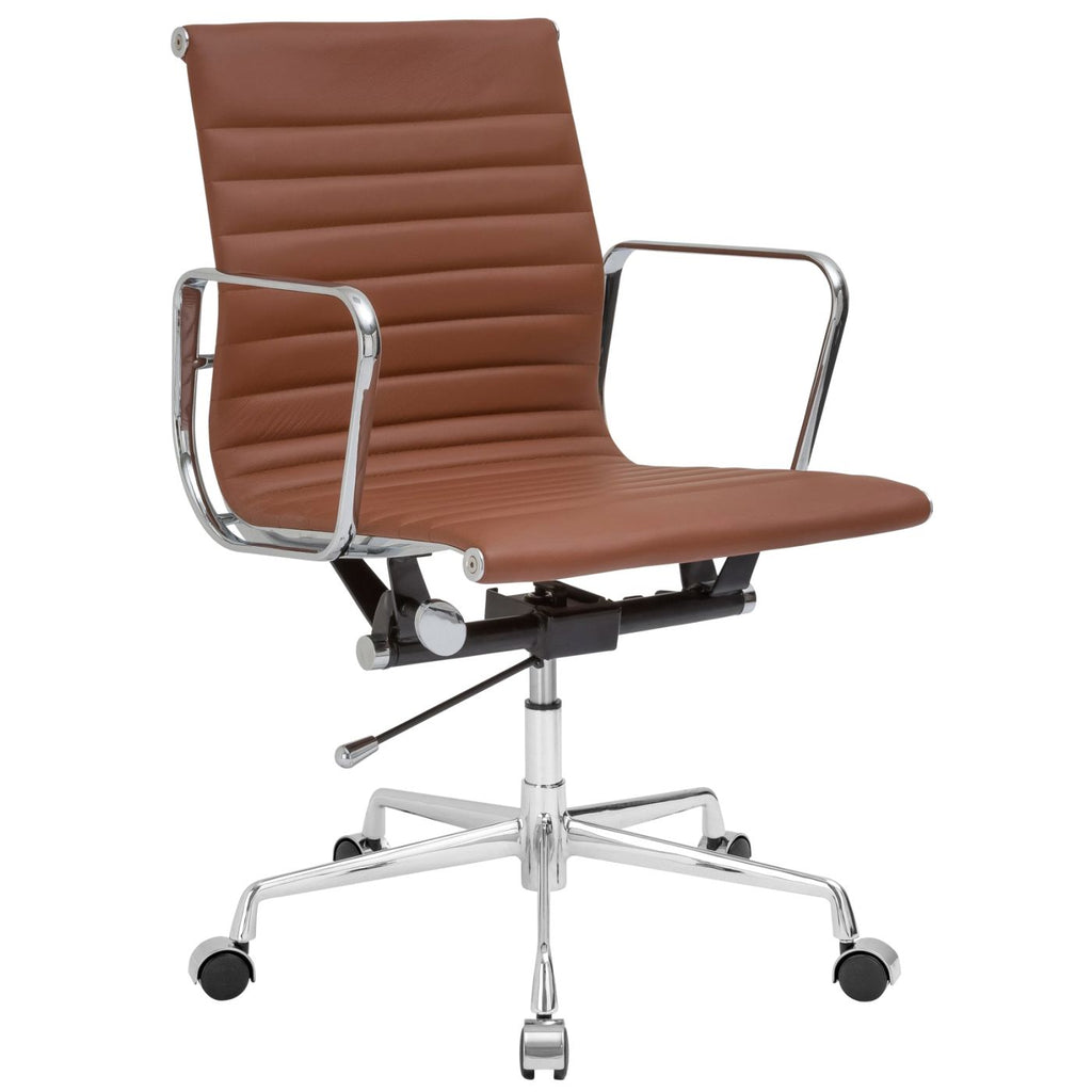 Buy EdgeMod EM 160 TER Ribbed Mid Back Office Chair With Italian Leather In  Terracotta At Contemporary Furniture Warehouse
