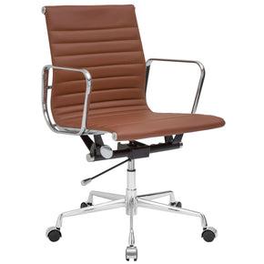 Ribbed Mid Back Office Chair With Italian Leather In Terracotta