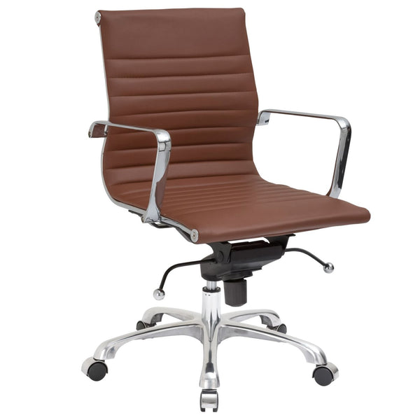 Ribbed Mid Back Office Chair Terracotta