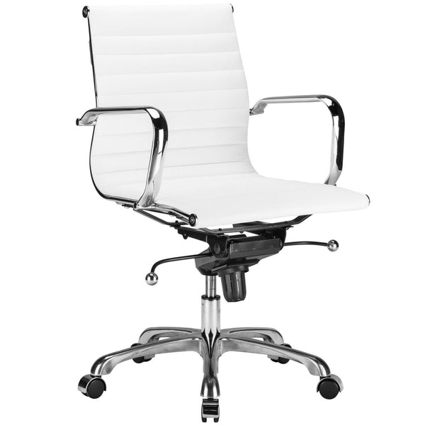 Ribbed Mid Back Office Chair In White