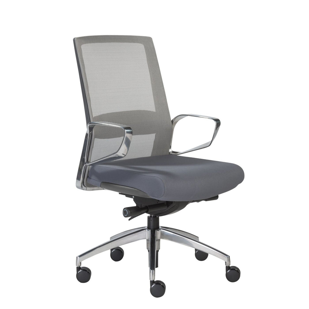 Alpha Low Back Office Chair With Gray Mesh And Polished Aluminum Base