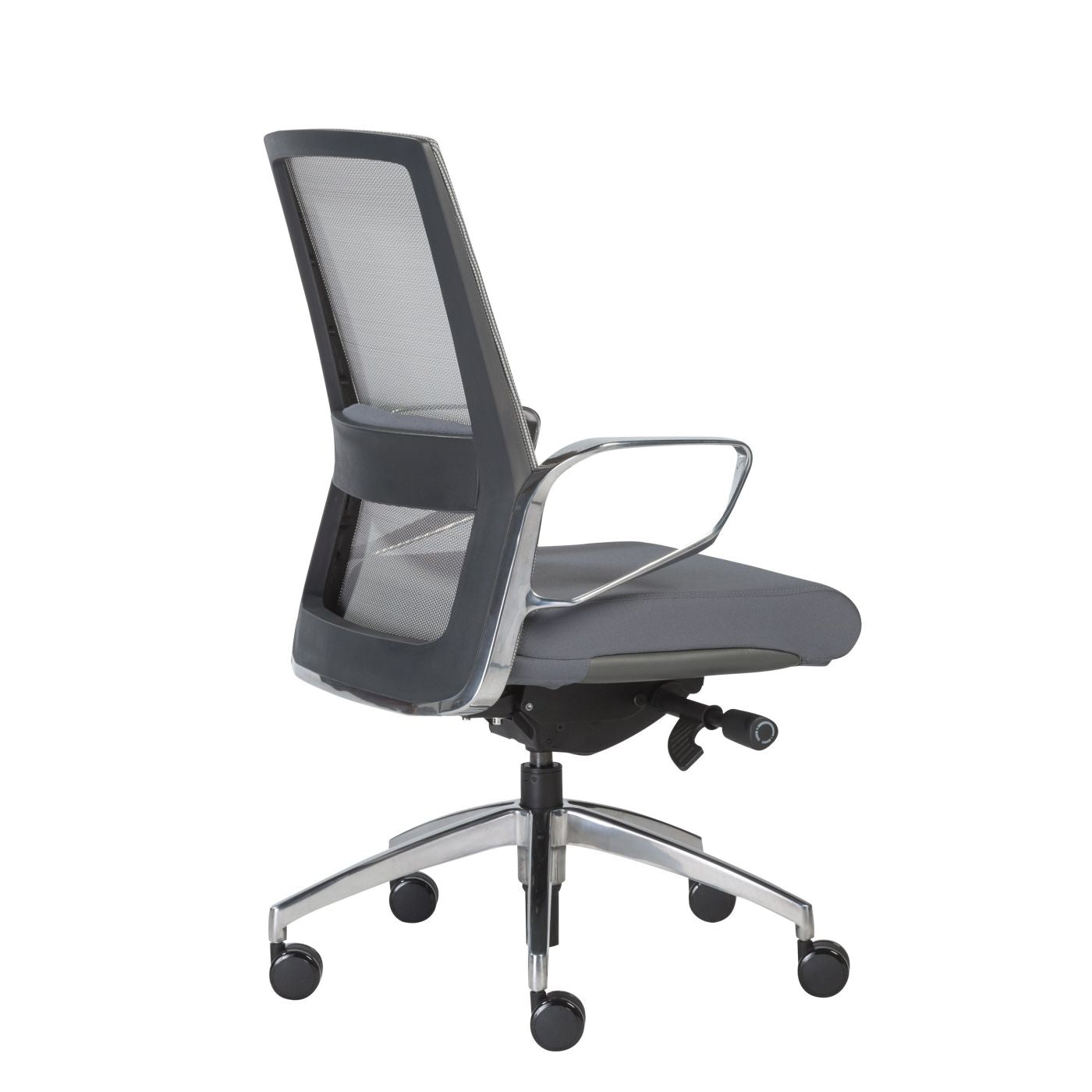 Euro Style Alpha Low Back fice Chair with Gray Mesh and Polished