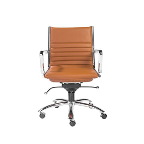 Dirk Low Back Office Chair In Cognac With Chrome Base