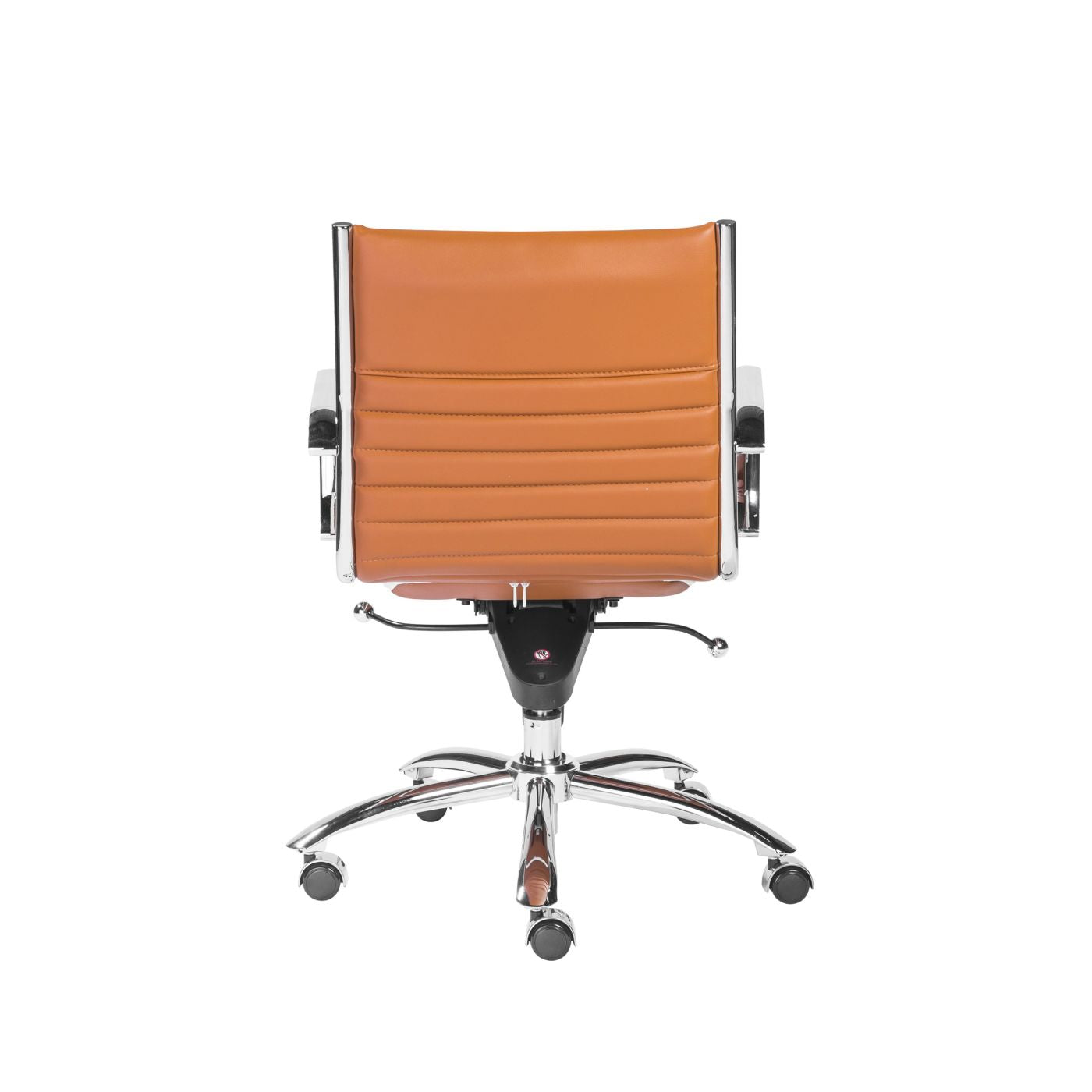 Euro Style Dirk Low Back fice Chair in Cognac with Chrome Base