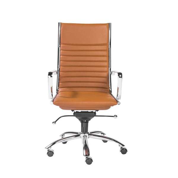 Dirk High Back Office Chair In Cognac With Chrome Base