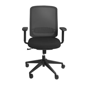 Isaac Low Back Office Chair In Black With Nylon Base