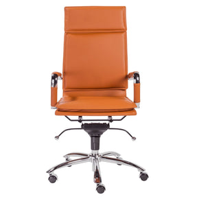 Gunar Pro High Back Office Chair In Cognac With Chrome Base