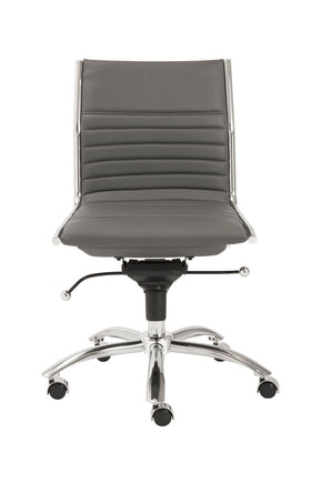 Dirk Low Back Office Chair Without Armrests In Black With Chromed Steel Base