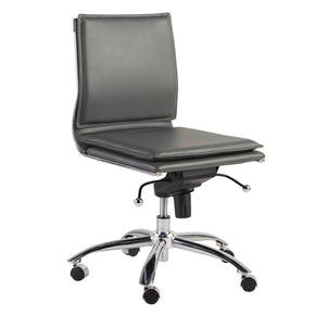 Gunar Pro Low Back Armless Office Chair In Gray With Chromed Steel Base