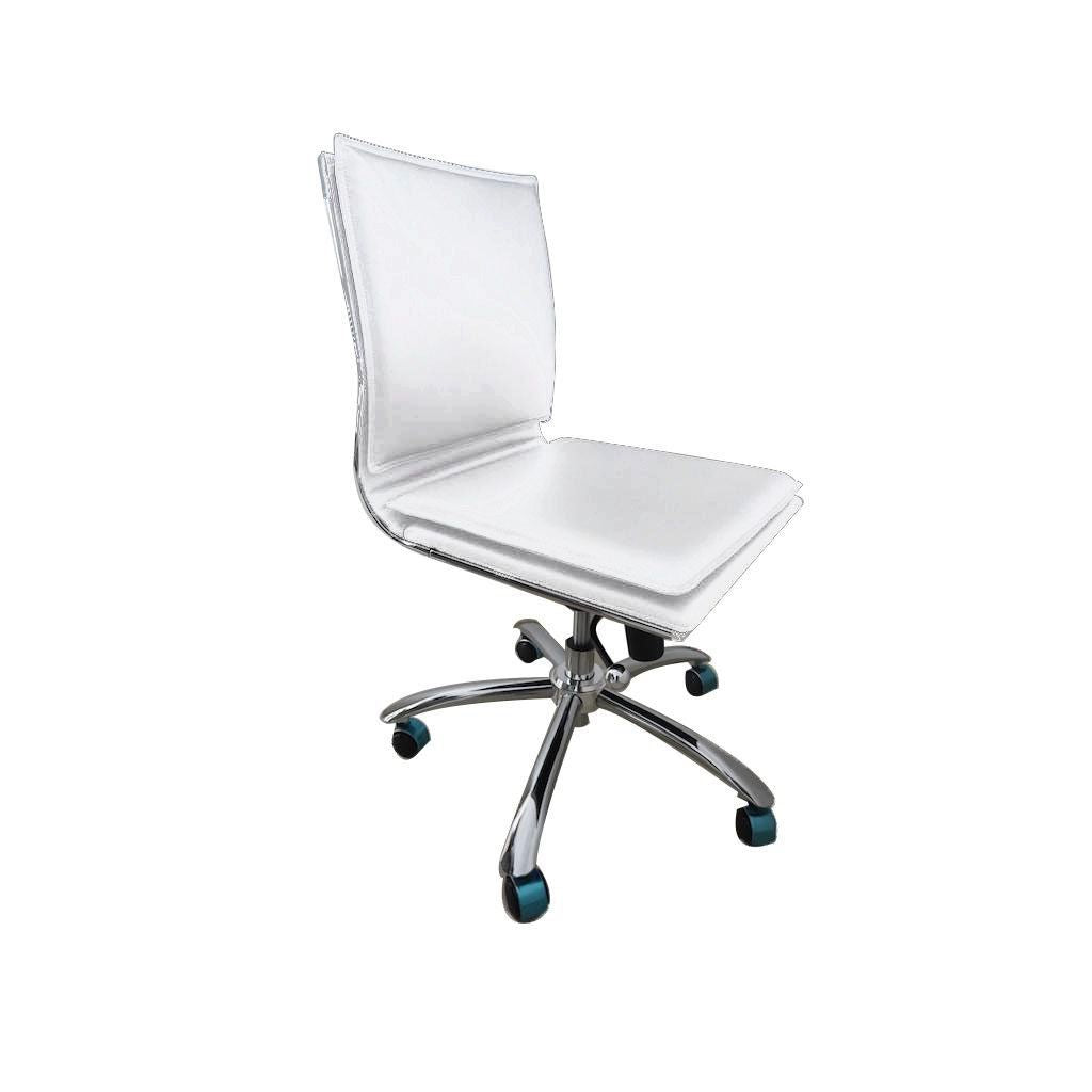 Buy Euro Style Euro 01273wht Gunar Pro Low Back Armless Office Chair In White With Chromed Steel Base At Contemporary Furniture Warehouse