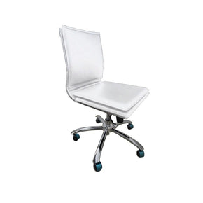 Gunar Pro Low Back Armless Office Chair In White With Chromed Steel Base