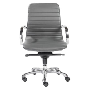 Everette Low Back Office Chair In Gray With Polished Aluminum Base
