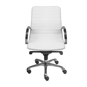 Everette Low Back Office Chair In White With Polished Aluminum Base