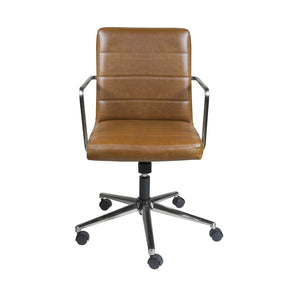 Leander Low Back Office Chair In Brown With Brushed Nickel Base