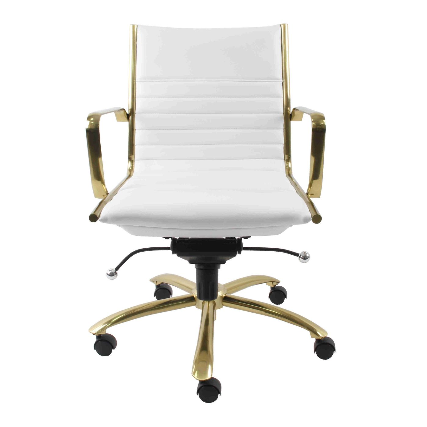 Dirk Low Back Office Chair In White With Brushed Gold Base ...