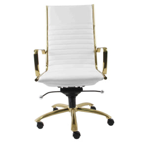 Dirk High Back Office Chair In White With Brushed Gold Base