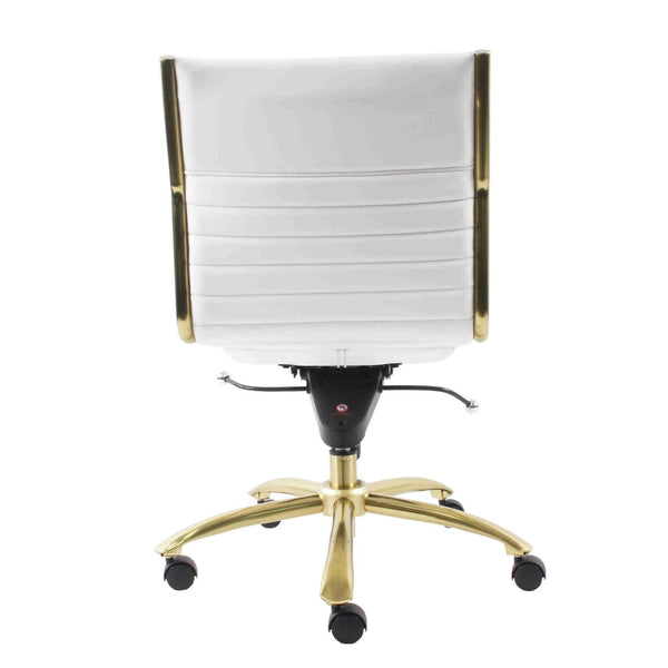... Dirk Armless Low Back Office Chair In White With Brushed Gold Base ...  sc 1 st  Contemporary Furniture Warehouse & Euro Style EURO-10676WHT Dirk Armless Low Back Office Chair in White ...