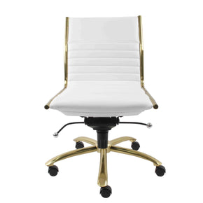 Dirk Armless Low Back Office Chair In White With Brushed Gold Base