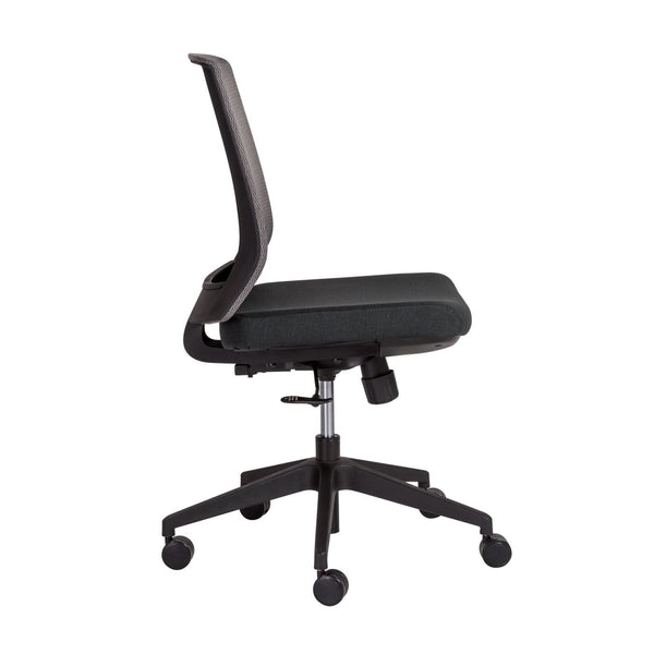 ... Fiona Office Chair In Gray Mesh Back And Black Fabric Seat With Base ...