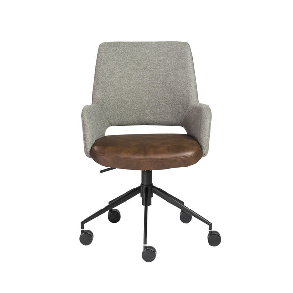Desi Office Chair In Dark Gray Fabric And Light Brown Leatherette With Black Base