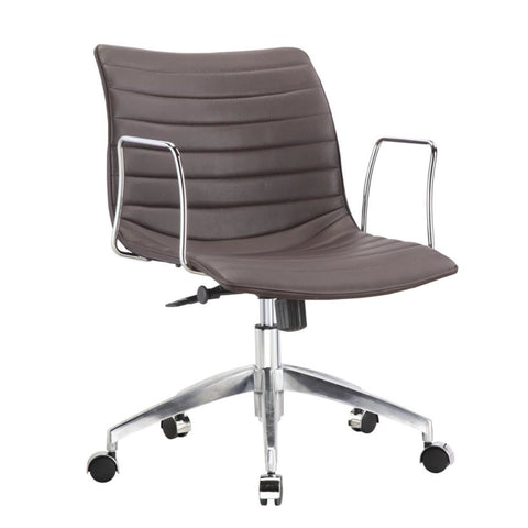 Comfy Office Chair Mid Back Dark Brown