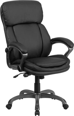 High Back Black Leather Executive Swivel Office Chair With Lumbar Support Knob