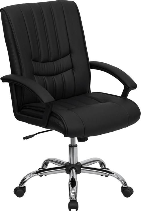 Mid-Back Black Leather Swivel Manager's Chair Office