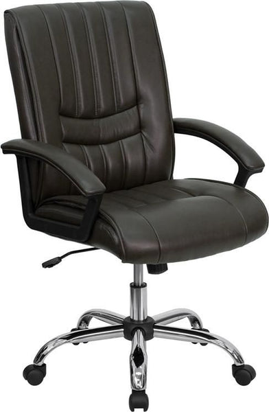 Mid-Back Black Leather Swivel Manager's Chair Brown Office