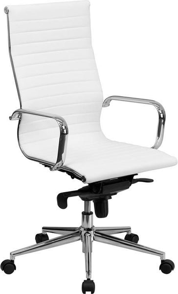 High Back Ribbed Upholstered Leather Executive Swivel Office Chair (Multiple Colors) White