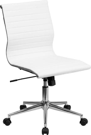 Mid-Back Armless White Ribbed Upholstered Leather Swivel Conference Chair Office