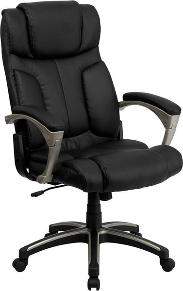 High Back Folding Black Leather Executive Swivel Office Chair