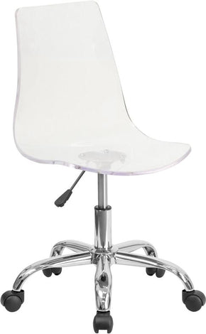 Ultra Modern Transparent Acrylic Task Chair With Chrome Base (Multiple  Colors) Clear Office