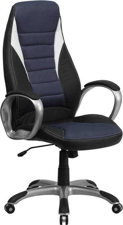 High Back Black Vinyl Executive Swivel Office Chair With Blue Mesh Inserts Black, Blue, White