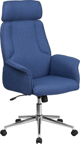 High Back Brown Fabric Executive Swivel Office Chair With Chrome Base Blue