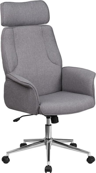 High Back Brown Fabric Executive Swivel Office Chair With Chrome Base Gray