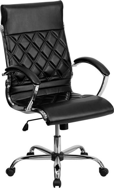 High Back Designer White Leather Executive Swivel Office Chair With Chrome Base Black