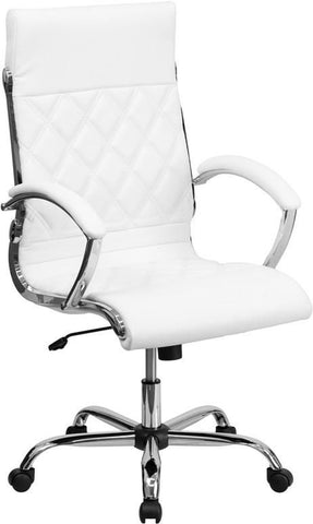 High Back Designer White Leather Executive Swivel Office Chair With Chrome Base