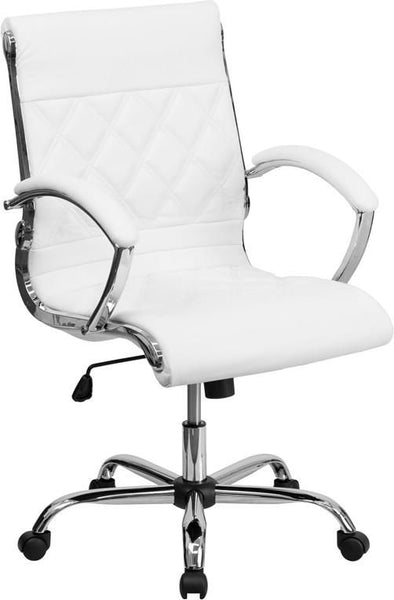 Mid-Back Designer Black Leather Executive Swivel Office Chair With Chrome Base White