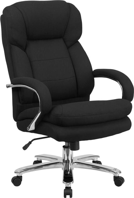 Series 24/7 Intensive Use Multi-Shift Big & Tall 500 Lb. Capacity Black Fabric Executive Swivel Chair With Loop Arms Office
