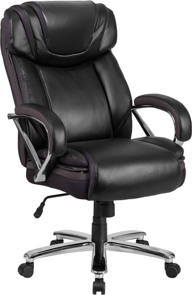 Series 500 Lb. Capacity Big & Tall Taupe Leather Executive Swivel Office Chair With Extra Wide Seat Black