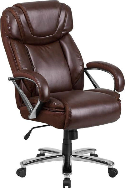 Series 500 Lb. Capacity Big & Tall Taupe Leather Executive Swivel Office Chair With Extra Wide Seat Brown