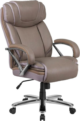 Series 500 Lb. Capacity Big & Tall Taupe Leather Executive Swivel Office Chair With Extra Wide Seat