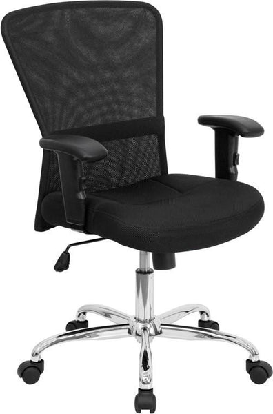 Mid-Back Black Mesh Contemporary Swivel Task Chair With Chrome Base And Height Adjustable Arms Office
