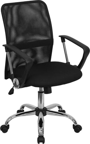 Mid-Back Black Mesh Swivel Task Chair With Chrome Base Office