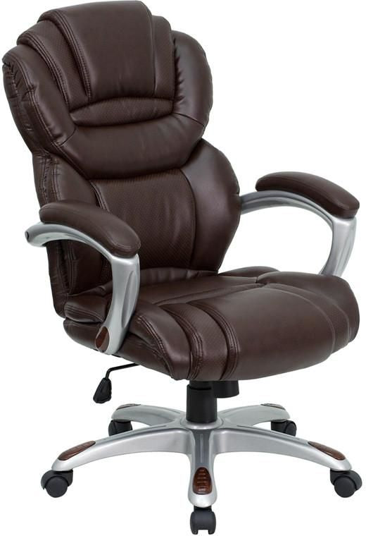 High Back Leathersoft Executive Swivel Office Chair With Padded Loop Arms Brown