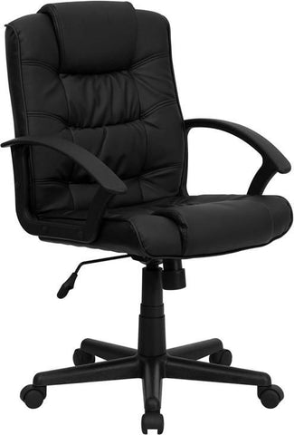 Mid-Back Black Leather Swivel Task Chair Office