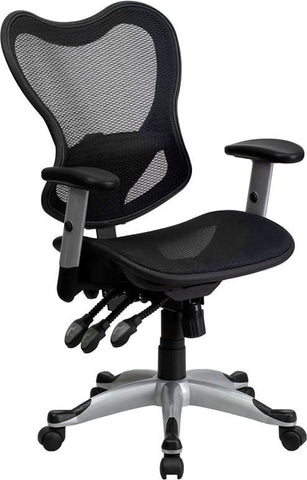 Mid-Back Black Mesh Executive Swivel Office Chair With Triple Paddle Control