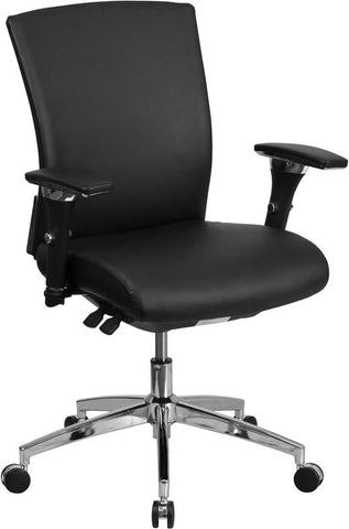 Series 24/7 Multi-Shift 300 Lb. Capacity Black Leather Multi-Functional Executive Swivel Chair With Seat Slider Office