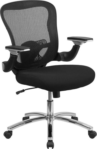 Mid-Back Black Mesh Executive Swivel Office Chair With Padded Seat And Height Adjustable Flip-Up Arms