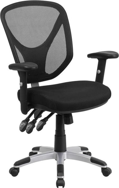 Mid-Back Black Mesh Swivel Task Chair With Triple Paddle Control And Height Adjustable Arms Office